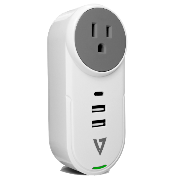 V7 4-in-1 Surge Tap (1 AC Outlet + 2 USB, 1 USB-C Ports), 400 Joules