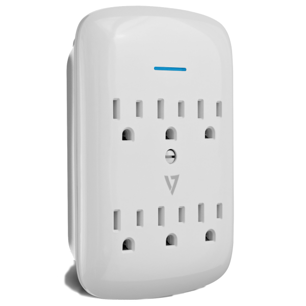V7 6-Outlet Wall Tap Surge Protector, 1200 Joules - White