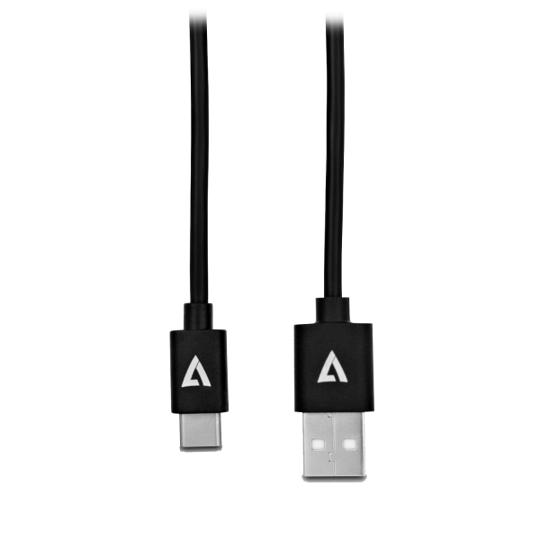V7 Black USB Cable USB 2.0 A Male to USB-C Male 2m 6.6ft