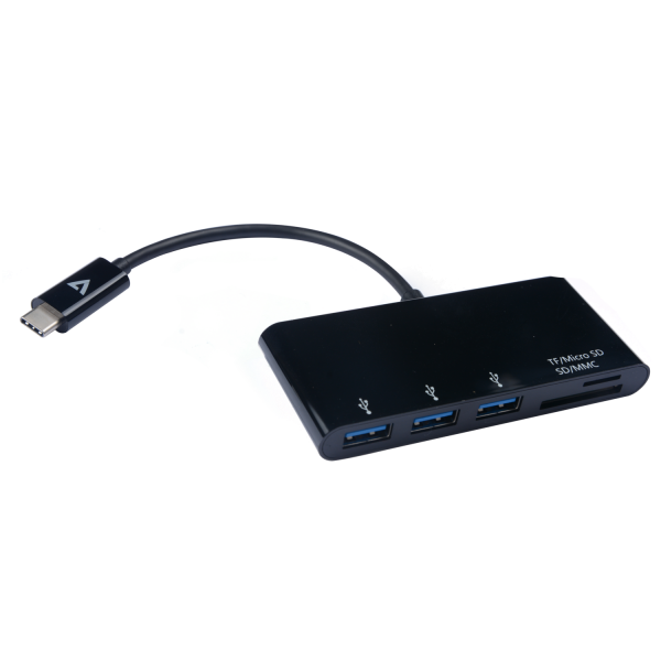 USB-C Male to 3 x USB A Female, Micro SD, SD/MMC USB 3.2 Gen1 5 Gbps Black