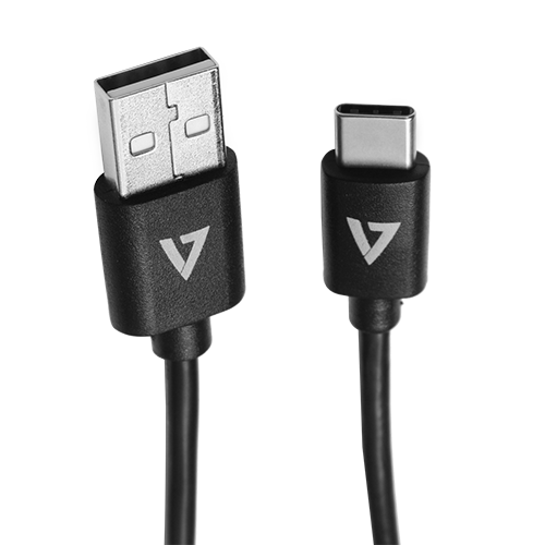 V7 Black USB Cable USB 2.0 A Male to USB-C Male 1m 3.3ft