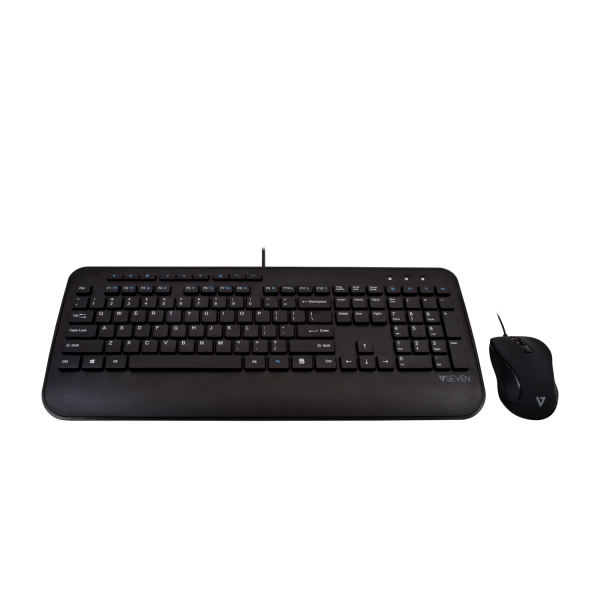 Full Size USB Keyboard with Palm Rest and Ambidextrous Mouse Combo