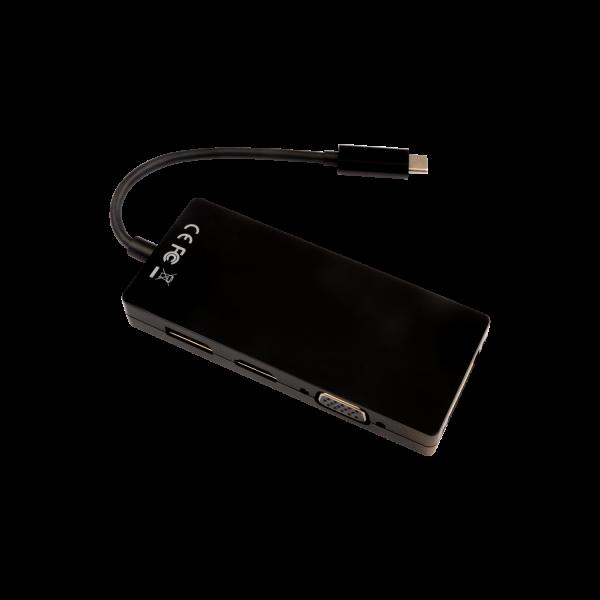 V7 Black Video Adapter USB-C Male to DisplayPort Female, HDMI Female, VGA Female, DVI Female