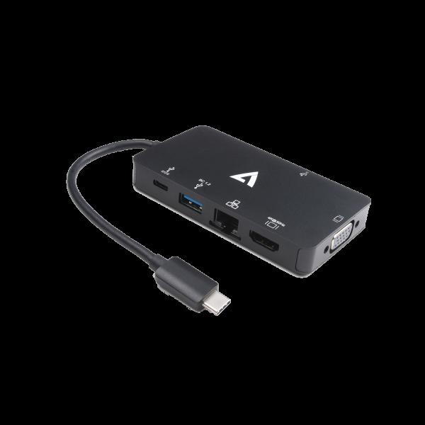 V7 Black Video Adapter USB-C Male to 2x USB 3.0 Female, RJ45 Female, HDMI Female, VGA Female, USB-C Female