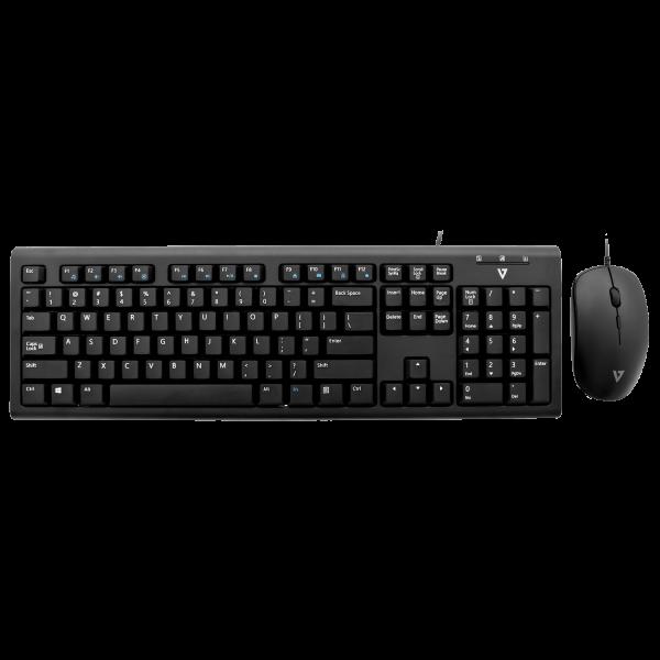 V7 Set USB Tastatur und Maus - schwarz - DE