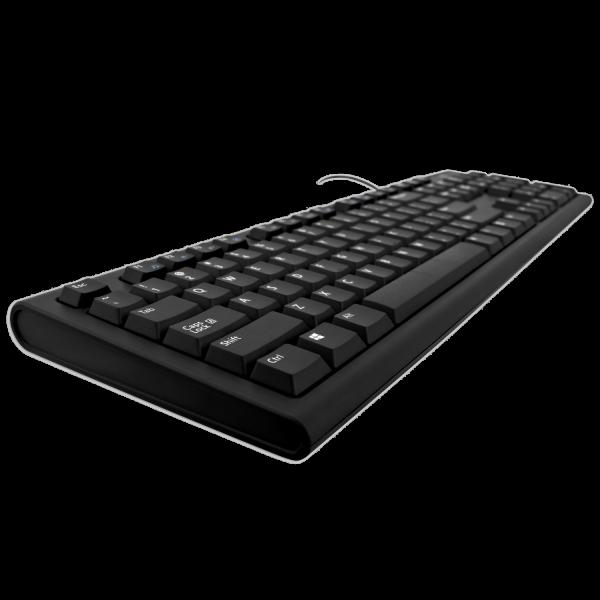 V7 USB/PS2 Tastatur schwarz - schwarz - US