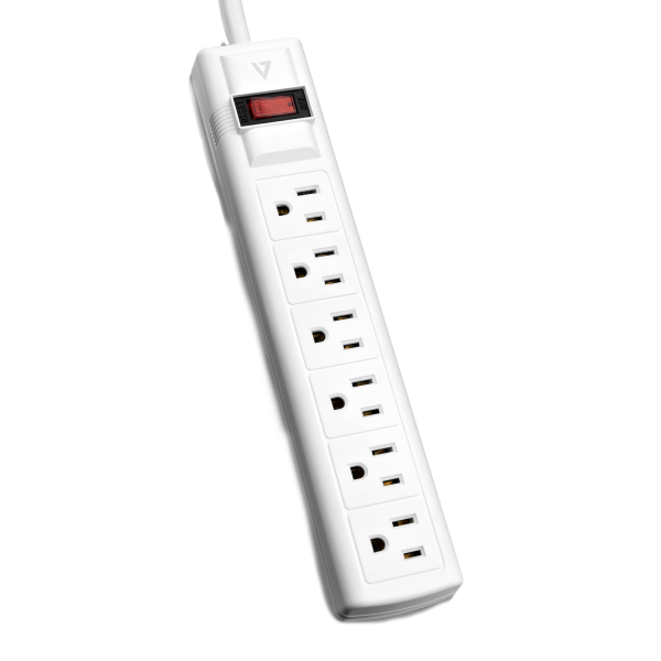 V7 6-Outlet Home/Office Surge Protector, 8 ft cord, 900 Joules - White